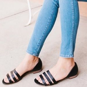 Madewell Leila D'Orsay Black Leather Sandals G2001